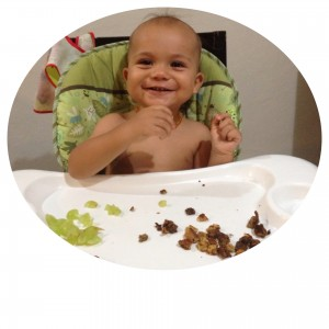 Liam loving his peanut butter!